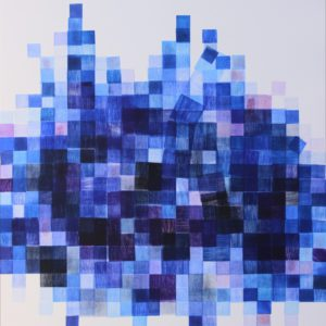 Azul 2.. Estampación de tacos de madera. 70x 63 CMS. 2017..